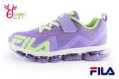 FILA女童運動鞋 全氣墊 反光系列 慢跑鞋N7630#紫色◆OSOME奧森童鞋