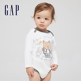 Gap嬰兒 棉質舒適童趣印花長袖包屁衣 663871-白色