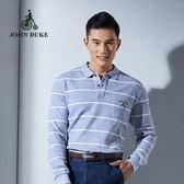 JOHN DUKE約翰公爵 經典美式條紋純棉POLO衫 (灰/白)