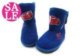 閃電麥坤童靴 鬆緊帶大開口 橡膠防滑休閒靴 雪靴 奧森童鞋~ 零碼出清 K8003#藍