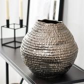 新中式輕奢陶瓷大花瓶陶罐客廳插花落地花器樣板房軟裝飾品擺件ATF 歐尼曼家具館
