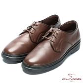 CUMAR 舒適上班族‧帥氣綁帶超輕量皮鞋-咖啡色
