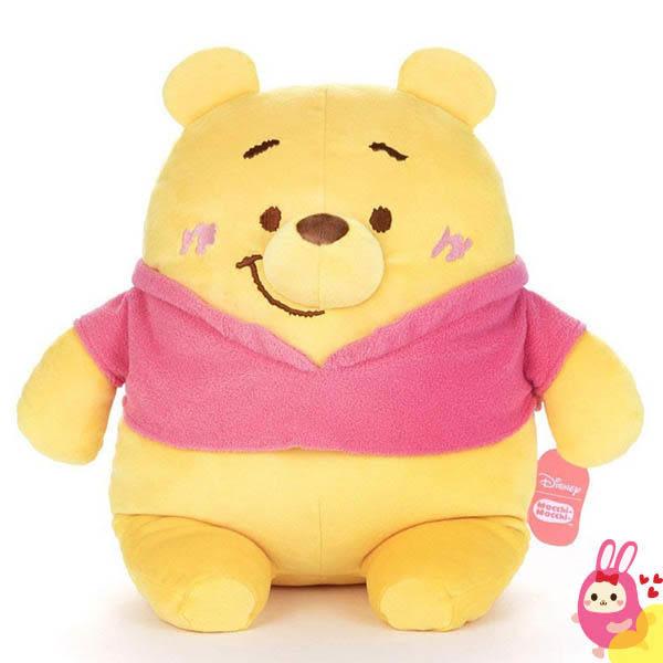 Hamee 日本 迪士尼 Mocchi Mocchi 愛的抱抱 細緻絨毛 療癒娃娃 玩偶 抱枕 靠墊 (小熊維尼) TA21281