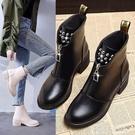 2021新款秋冬時裝靴韓版前拉鏈短靴粗跟柳釘馬丁靴加棉中跟女靴子 夏季新品