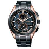 CITIZEN星辰 金城武廣告配戴款 電波鈦金屬三眼計時光動能腕錶-黑金/43mm AT8044-64E