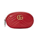 【台中米蘭站】全新品 GUCCI GG Marmont 山型絎縫皮革手拿/腰包 (476434-紅)