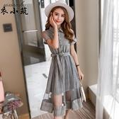 短袖洋裝—顯瘦連身裙夏季裙子拼接網紗短袖格子中長新款襯衫裙女假兩件