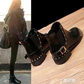 粗跟馬丁靴女秋冬2019新款鉚釘網紅英倫風百搭切爾西尖頭低跟短靴『艾麗花園』