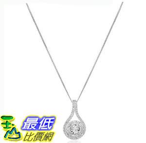 [106美國直購] 鑽石吊墜 10k White Gold Diamond Drop Tear Pendant Necklace (1/4cttw, I-J Color, I2-I3 Clarity)