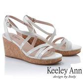 ★2019春夏★Keeley Ann細條帶 韓系牛皮簡約交叉環繞楔形涼鞋(米白色) -Ann系列