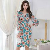 洋裝.禮服.858春季性感V領長袖修身顯瘦印花連身裙(帶項鏈)ZLA07-B紅粉佳人