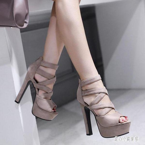 恨天高女 綁帶走秀鞋15cm超高跟粗跟涼鞋一字扣黑色高跟鞋女夏優雅 LJ1576【甜心小妮童裝】