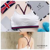 Catworld X型條紋美背冰絲運動BRA小可愛【11500534】‧F*特價