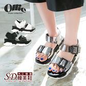 ~ ~涼鞋韓國 正韓製金屬光雙扣帶寬帶厚底涼鞋ollie 3 色~F720357 ~美體鞋