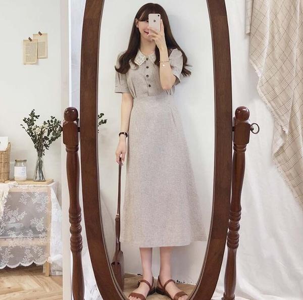 洋裝 韓系春夏復古格子娃娃領連身裙 花漾小姐【預購】