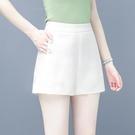 黑色a字闊腿短褲 女夏季2020新款寬鬆顯瘦雙排扣雪紡高腰西裝短褲 JX3987【衣好月圓】