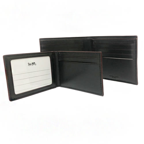 【COACH】經典C LOGO滾邊PVC皮革 8卡對折輕便短夾附活動證件夾(黑褐)