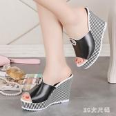 2020新款夏季韓版涼拖鞋女鞋時尚厚底學生外穿坡跟一字拖鞋 EY11121 【MG大尺碼】