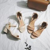 中跟鞋 涼鞋女中跟時尚粗跟女鞋百搭韓版一字扣軟妹鞋子 傾城小鋪