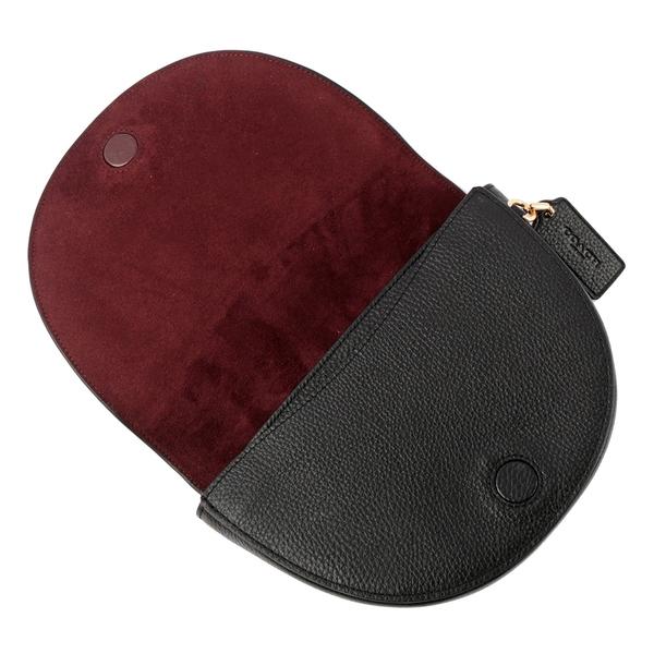 【COACH】ELLEN 素面荔枝皮革馬鞍造型斜背包(黑色) C1432 IMBLK