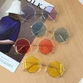 墨鏡 港風透明菱形眼鏡韓版男女時尚海洋鏡片太陽鏡韓版百搭顯瘦潮 - 雙十二交換禮物