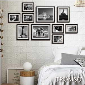TROMSO巴黎撞色木紋相框牆10框組-黑