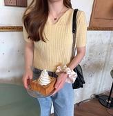 針織上衣 韓系春夏甜美氣質縷空短袖鉤花泡泡袖針織衫女 共4色 依米迦