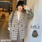 LULUS-Y格紋雙排釦毛呢外套-卡其  【03190206】