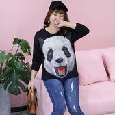中大尺碼~熊貓布貼圖案長袖上衣(XL~4XL)