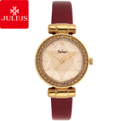 JULIUS 聚利時 閃耀星辰水鑽皮帶腕錶-酒紅色/30mm 【JA-778E】