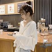 女短款上衣女小個子白色T恤長袖【邻家小鎮】