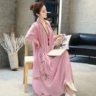 夏季民族風大碼寬鬆亞麻飄逸假兩件長裙中國...