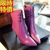 短靴 高跟女靴子-質感造型簡約率性休閒4色66c47[巴黎精品]
