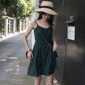 時尚小清新性感細肩帶褶皺連身裙女夏季新款純色收腰吊帶裙潮 艾尚旗艦店