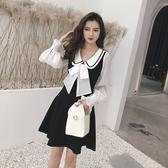 超殺出清 韓國風名媛燈籠袖娃娃領大蝴蝶結長袖洋裝
