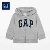 Gap男嬰兒logo拉鍊連帽休閒上衣511478-亮麻灰色