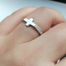 S925純銀簡約時尚可調戒圍十字架戒指