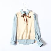 時尚學院翻領蝴蝶結條紋襯衫外搭無袖針織背心套裝