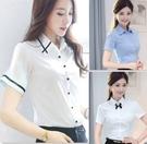 白色襯衫女職業短袖上衣夏天衣服韓版修身寬鬆夏裝銀行上班工作服 依凡卡時尚