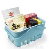 野餐籃超市購物籃手提籃塑膠摘菜籃子手提洗澡籃 伊莎公主
