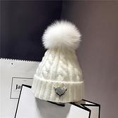 秋冬保暖帽真狐貍毛球白色毛線帽子女潮百搭韓版時尚針織帽套頭帽 童趣潮品