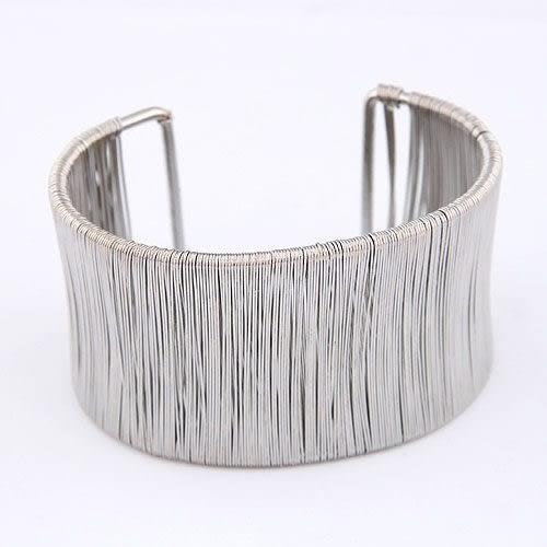 預購-金屬線條纏繞開口手環 (銀色)
