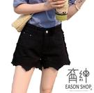EASON SHOP(GW5762)實拍丹寧側邊毛邊抽鬚流蘇撕邊不規則剪裁收腰牛仔褲女高腰短褲休閒褲熱褲A字寬褲