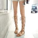 平底涼鞋 女平底鞋高筒靴羅馬交叉綁帶涼靴 系帶歐美度假舒適平跟鞋繫帶鞋