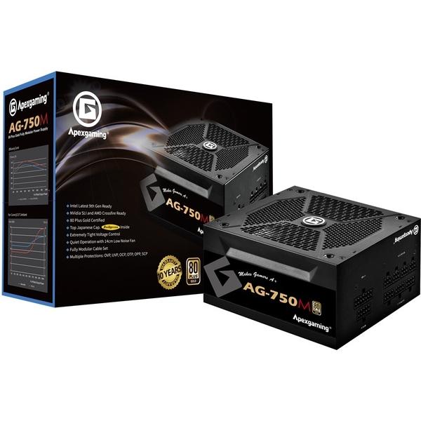 美商艾湃電競 Apexgaming AG-750M 750W 金牌全模組 靜音散熱