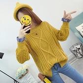 針織衫-假兩件韓版時尚粗毛線麻花女毛衣4色73tp47[巴黎精品]