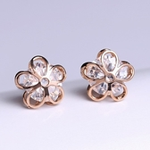 耳環 玫瑰金純銀鑲鑽-花朵造型生日情人節禮物女飾品73hk43[時尚巴黎]
