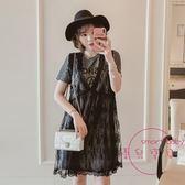 大尺碼女裝胖mm夏裝新款假兩件套裝200斤遮肚蕾絲連身裙 洋裝XL-5XL 中元節禮物
