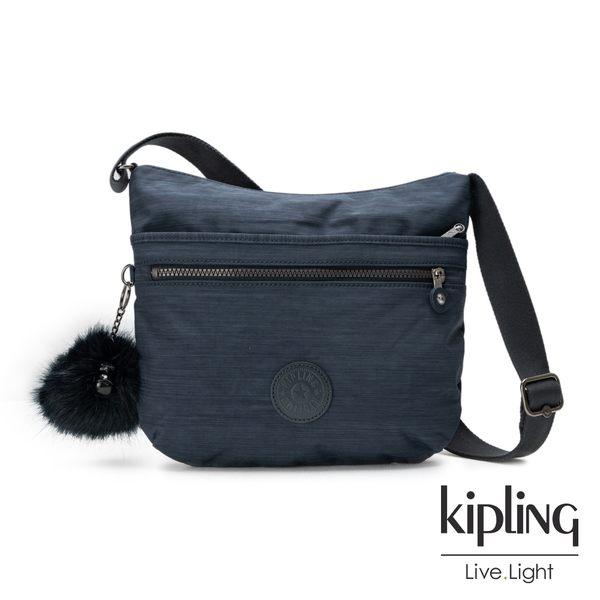 Kipling深藍素面前拉鍊側背包-ARTO-ESSENTIAL系列