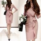 OL洋裝 氣質名媛小香風職業裙裝 秋冬裝新款女荷葉邊粉色鉛筆連身裙 店慶降價